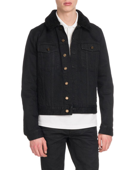 Men's Denim Jacket with Fur Collar