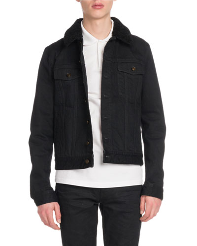 Men's Denim Jacket with Fur Collar