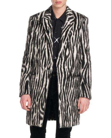 Men's Zebra-Stripe Fleece Coat