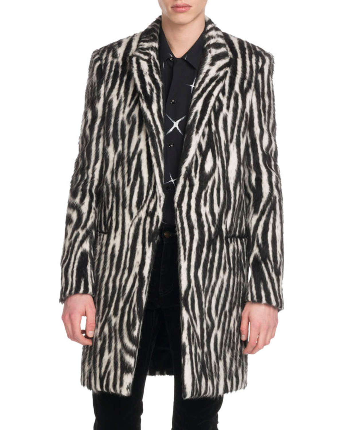 da0564839b Saint Laurent Men s Zebra-Stripe Fleece Coat