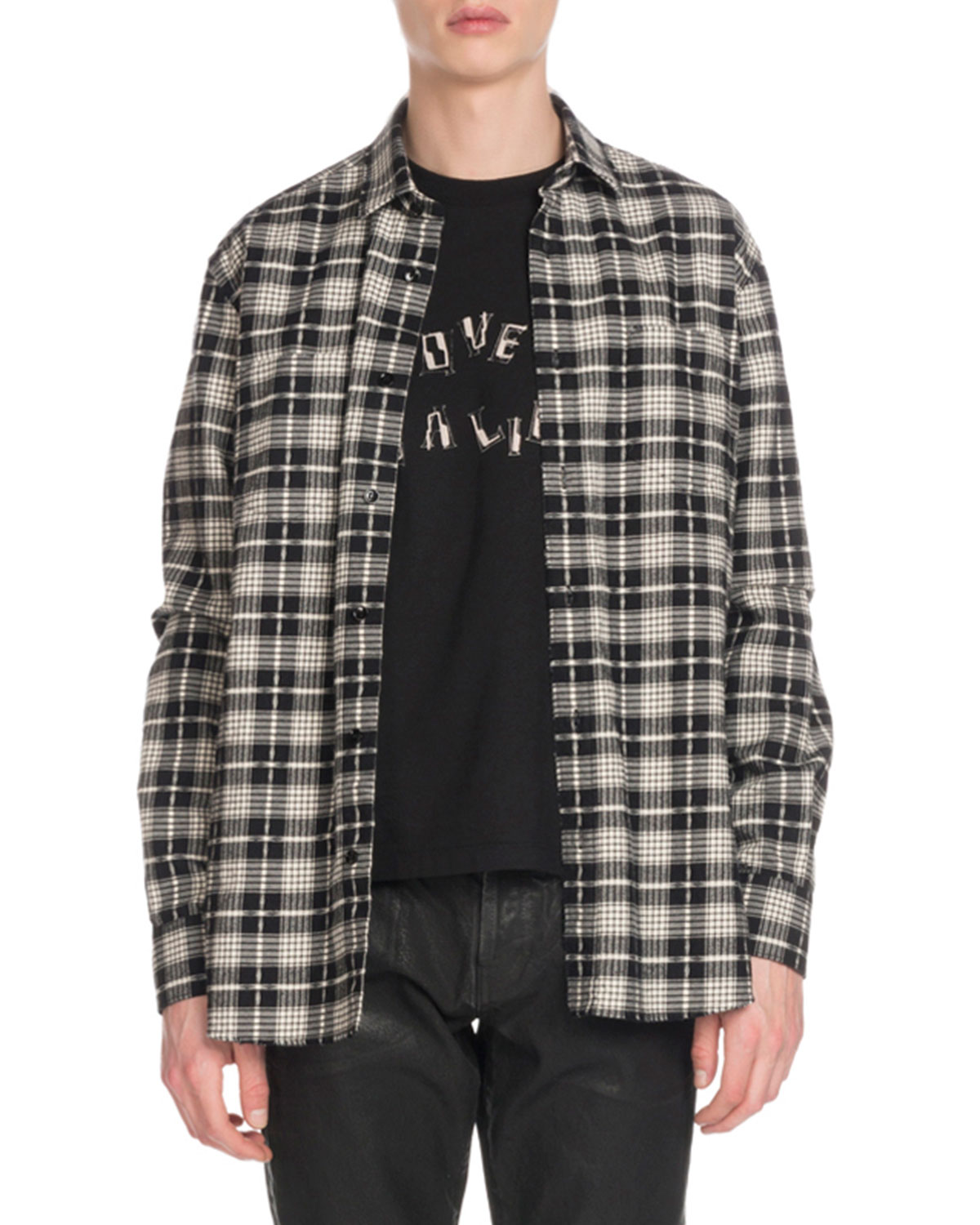Saint Laurent Men S Cotton Wool Plaid Flannel Shirt Neiman Marcus