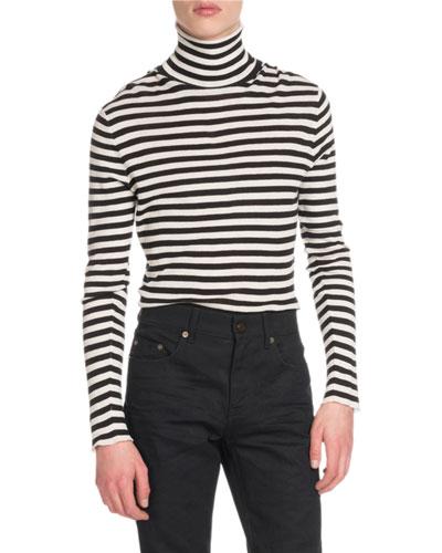 Men's Striped Intarsia Turtleneck Sweater
