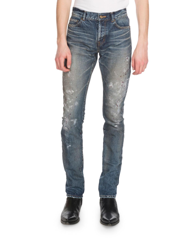8a75ae8babf Saint Laurent Men's Slim-Fit Painted Jeans