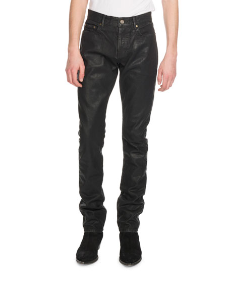 Men's Oily Coated Slim-Fit Jeans
