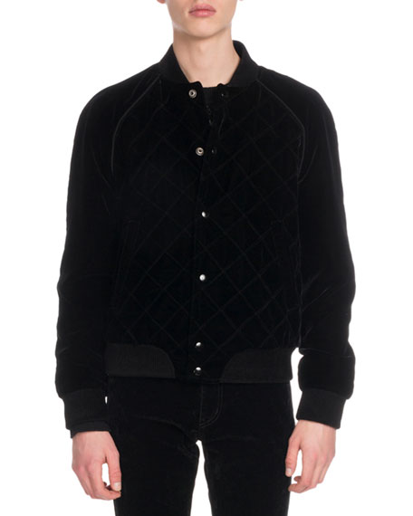 Men's Quilted Velvet Bomber Jacket
