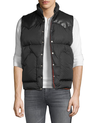 Men's Leather-Trim Down Puffer Vest