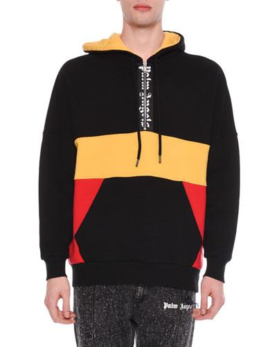 Men's Tricolor Quarter-Zip Hoodie