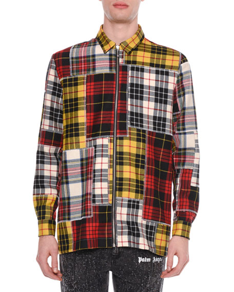 Palm Angels Men's Patchwork Plaid Zip-Front Shirt