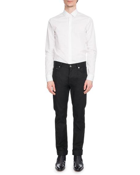 Men's Narrow-Fit Hidden-Placket Poplin Shirt