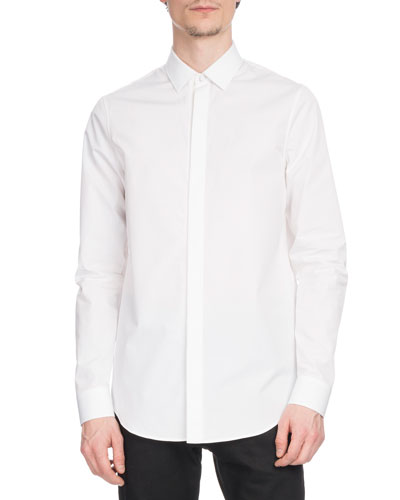 Men's Narrow-Fit Hidden-Placket Poplin Shirt