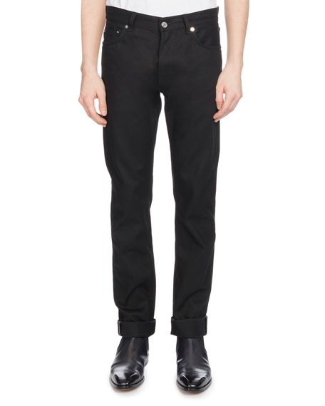 Men's Straight-Leg Cotton Jeans, Black