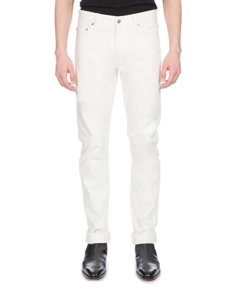 Men's Straight-Leg Cotton Jeans, White