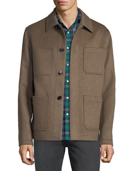 Berluti Men's Cashmere Button-Front Blouson Jacket