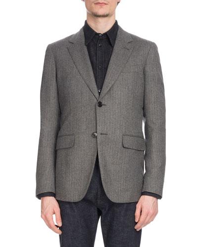 Men's Two-Button Wool Herringbone Blazer