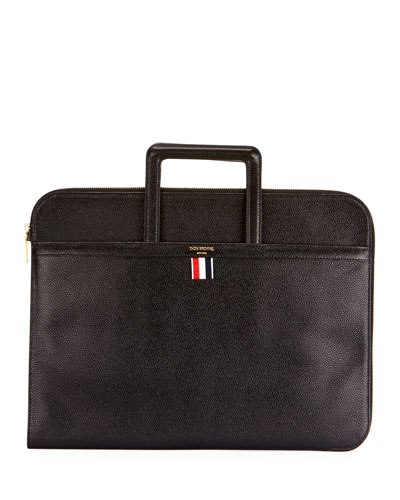 Men's Pebbled Leather Portfolio Case with Handles