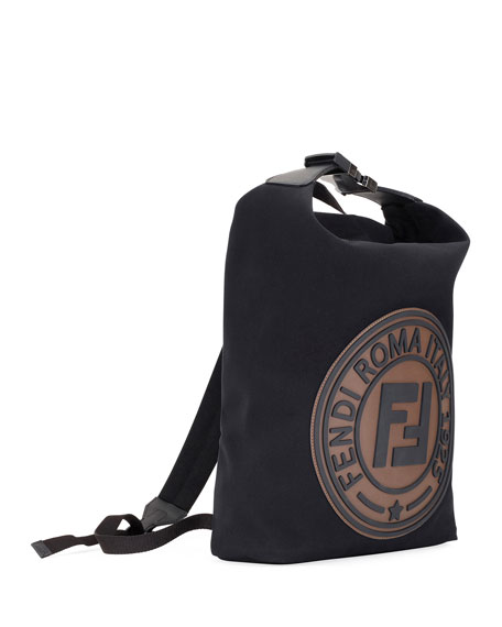 Men's Logo-Stamped Canvas Backpack