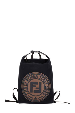 Fendi Men's Logo-Stamped Canvas Backpack