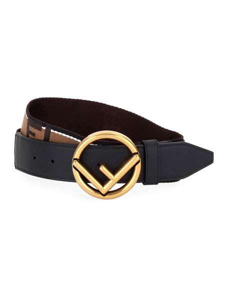 Fendi Men's Forever Fendi Belt with Brass Buckle