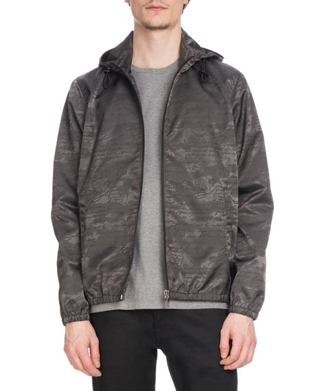 BERLUTI Men'S Tonal-Print Zip-Front Blouson Jacket in Gray