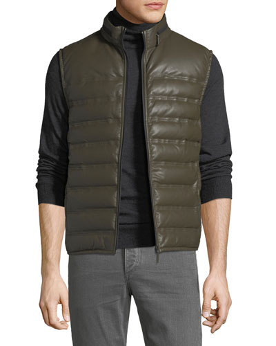 Men's Quilted Leather Gilet Vest