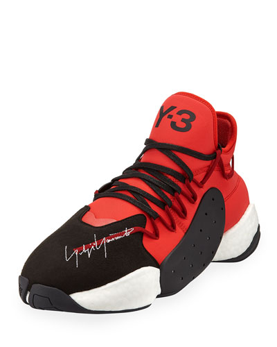 Men's BYW Leather/Textile Basketball Trainer Sneakers, Red