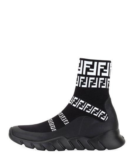 Men's FF Print Sock Boot Sneakers, Black