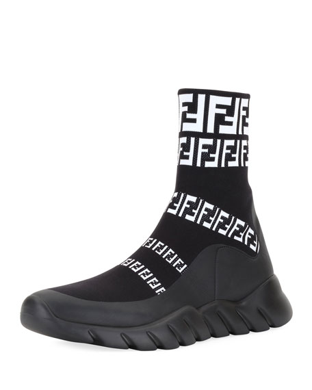 Fendi Men's FF Print Sock Boot Sneakers, Black