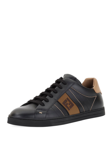 Men's FF Embroidered Leather Low-Top Sneakers