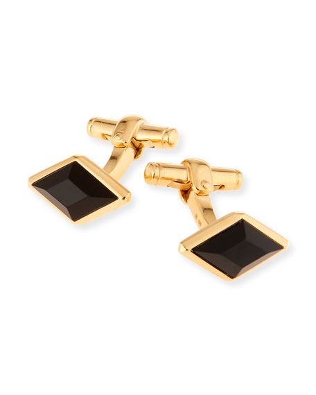 dunhill Gold Diamond-Shape Cuff Links with Onyx