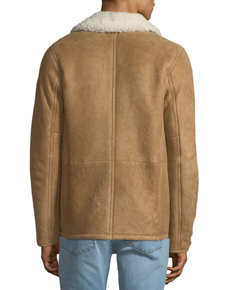 Men's Upland Shearling-Collar Lightweight Suede Jacket