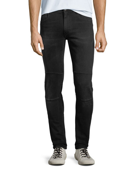 Tattenhall Skinny Washed Denim Moto Jeans