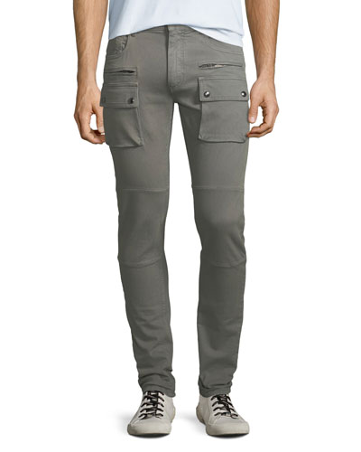 Men's Polmont Garment-Dyed Denim Skinny Cargo Jeans
