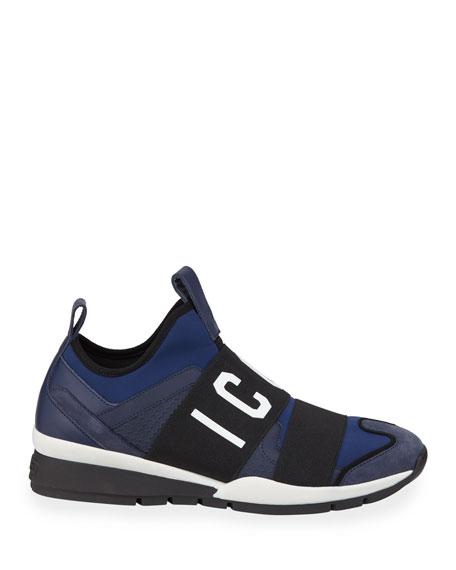 Men's Neoprene & Leather Trainer Sneakers, Blue/Black
