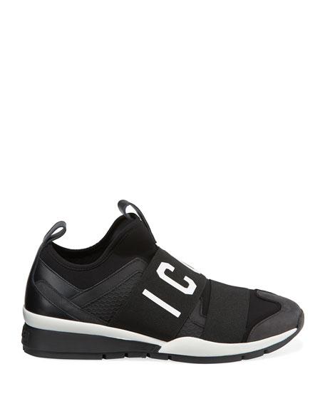 Men's Icon Neoprene & Leather Trainer Sneakers, Black