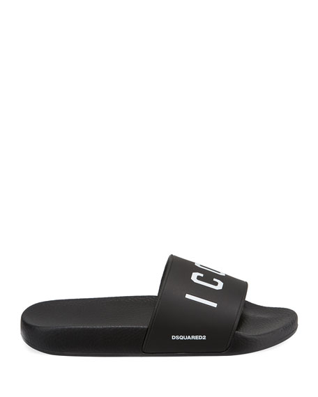 Men's Logo Rubber Slide Sandals, Black/White