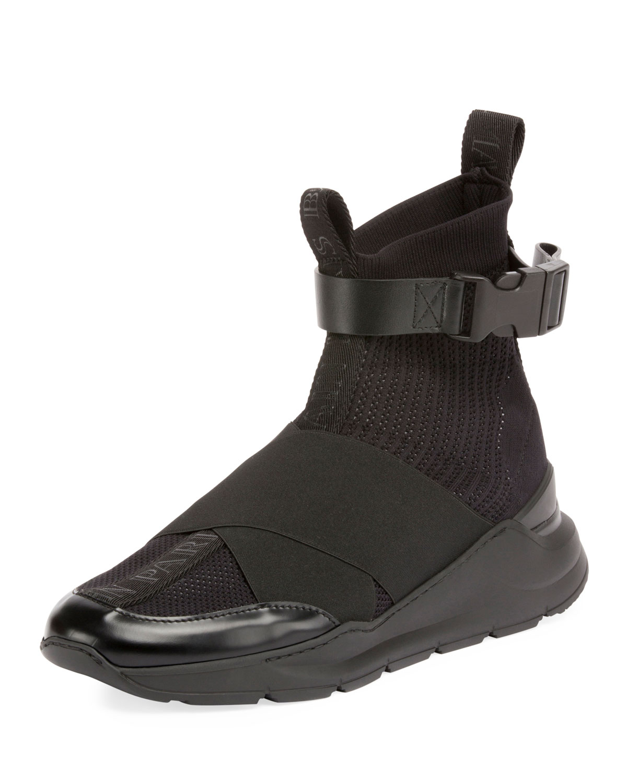 Balmain Men S Knit High Top Sock Sneakers Neiman Marcus