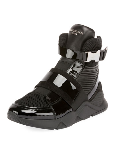 Men's Mesh High-Top Sneakers with Patent Leather Trim