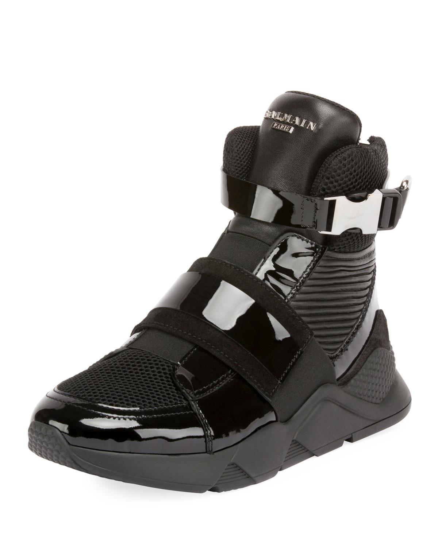 89d1f86c3cd Balmain Men's Mesh High-Top Sneakers with Patent Leather Trim ...