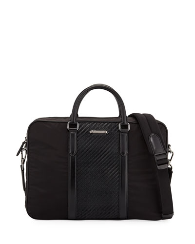 Men's Nylon Briefcase w/ Pelle Tessuta Panel