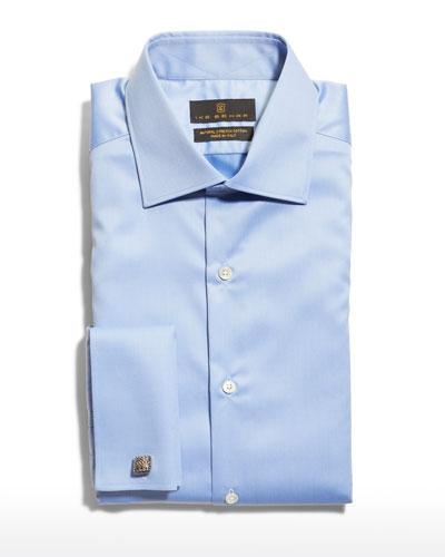 Men's Marcus French-Cuff Twill Dress Shirt  Blue