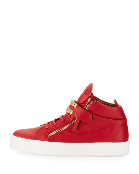 Men's Double-Grid Leather Mid-Top Sneakers