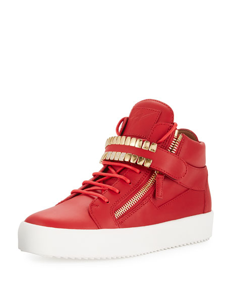 Giuseppe Zanotti Men's Double-Grid Leather Mid-Top Sneakers