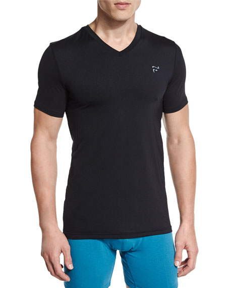Frigo Mesh V-Neck T-Shirt, Black