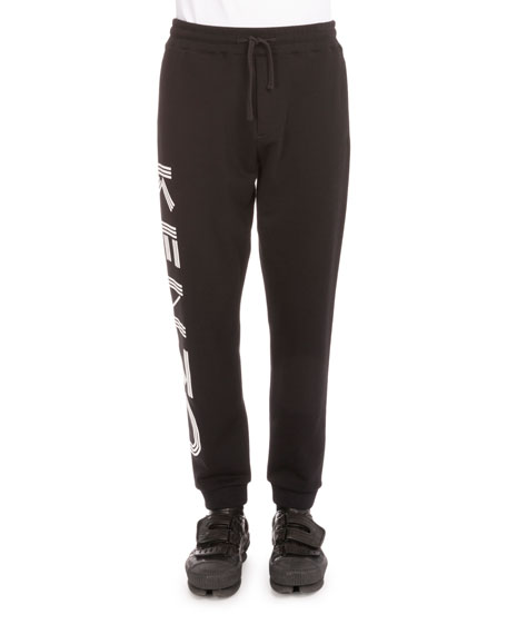 Kenzo Side-Logo Drawstring Sweatpants, Black