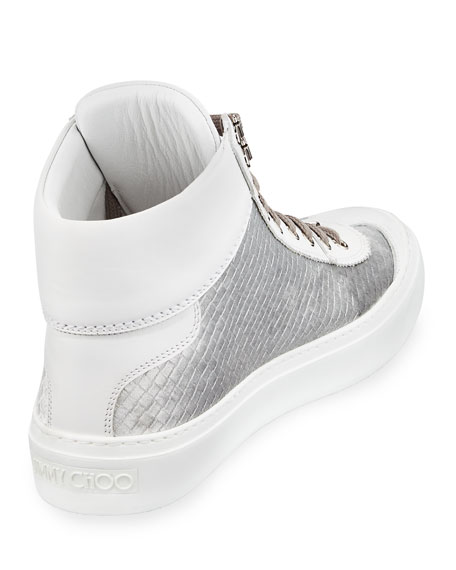 Men's Velvet & Leather High-Top Sneakers