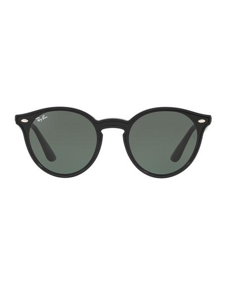 Men's Round Lens-Over-Frame Plastic Sunglasses