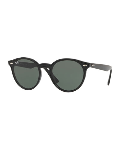 Men's Round Lens-Over-Frame Plastic Sunglasses