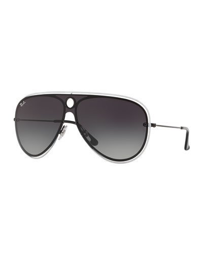 Men's RB3605N Aviator Sunglasses, Black/White