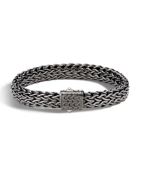 Men's Classic Chain Flat Matte Black Silver Bracelet