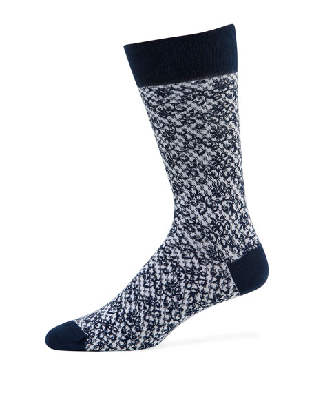 Neiman Marcus Men's Buffalo Check Socks with Floral
